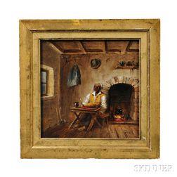 Attributed to Mary Priscilla Wilson Smith (Pennsylvania, 1819-1874)      Black Man in an Interior.