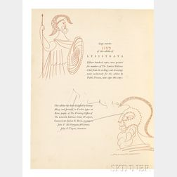 Aristophanes (c. 446-c. 386 BC) Lysistrata,   Illustrated and Signed by Pablo Picasso