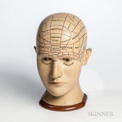 Carved Wood Phrenology Head
