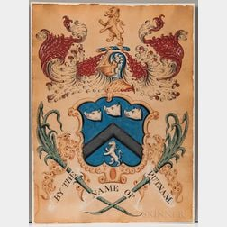 Putnam Family, Hand-painted Coat of Arms Attributed to John Coles Sr. (c. 1749-1809) or John Coles Jr. (1776-1854).