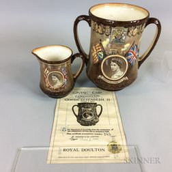 Two Royal Doulton Queen Elizabeth II Coronation Commemorative Ceramic Items
