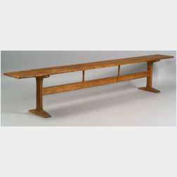 Shaker Pine and Chestnut Meetinghouse Trestle-base Bench