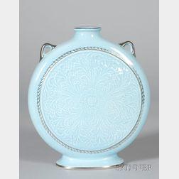 Wedgwood Norman Wilson Design Blue Glazed Pilgrim Vase