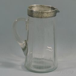 Silver-mounted Glass Pitcher
