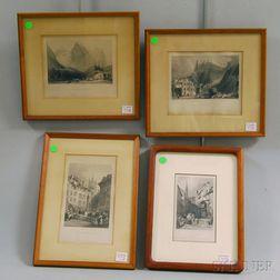 Four European Town View Engravings