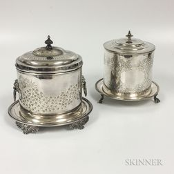 Two Silver-plated Biscuit Tins