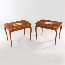 Pair of Tulipwood-veneered and Inlaid Side Tables