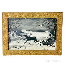 Framed American School Oil on Board Christmas Scene