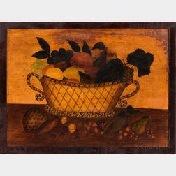 American School, Mid-19th Century      Folk Still Life of a Basket of Fruit