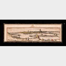 Three Framed Historical Engravings:      Antique Map of Dunkirk