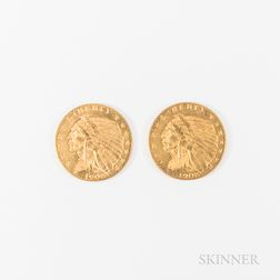 Two 1908 $2.50 Indian Head Gold Quarter Eagles