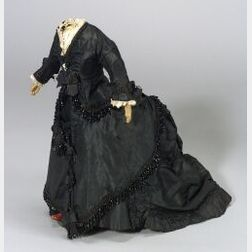 Four-Piece Lady Doll's Outfit of Black Silk and Jet