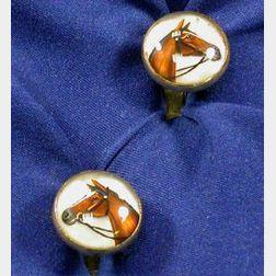 Gentleman's 14kt Gold and Reverse Crystal Cufflinks