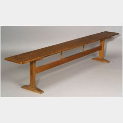 Shaker Pine and Chestnut Meeting House Trestle-base Bench
