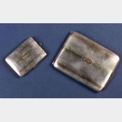 Sterling and Gold Overlay Cigarette Case and Matchsafe