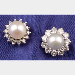 Two Cultured Pearl and Diamond Earstuds