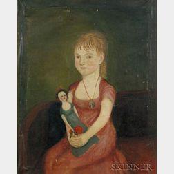 Attributed to Zedekiah Belknap (1781-1858)    Portrait of a Child Holding a Doll, 1807-1811.