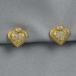 18kt Gold and Diamond Heart Earclips, Judith Ripka