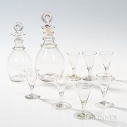 Two Blown Glass Decanters with Applied Ring Decoration and Seven Blown Wines