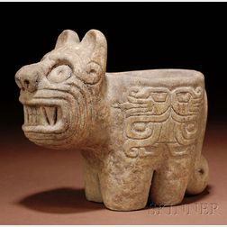 Pre-Columbian Carved Stone Mortar
