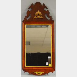 Queen Anne Rococo-style Giltwood and Mahogany Veneer Mirror