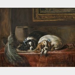 Continental School, 19th/20th Century    Two King Charles Spaniels, After Landseer