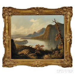 Attributed to Edmund C. Coates (New York/England, 1816-1871)      Autumn View on the Hudson and West Point