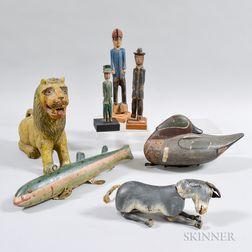 Seven Polychrome Carved Wood Figures