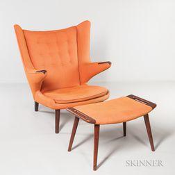 Hans Wegner (1914-2007) Papa Bear Chair and Ottoman