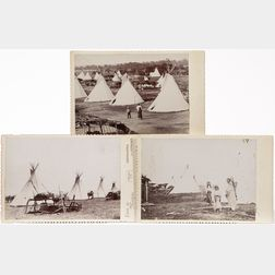 Three Cabinet Card Photos of a Kiowa-Comanche Camp
