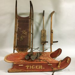 Two Painted Iron and Wood Sleds, a Pair of Ice Skates, and a Pair of Skis