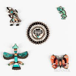 Five Zuni Inlay Pins