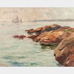 Alice Preble Tucker De Haas (American, 1859-1920)      Rocky Coast with Sailboats on the Horizon