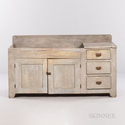 Large Gray-blue Painted Dry Sink