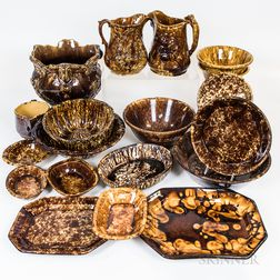 Twenty-three Pieces of Rockingham-glazed and Bennington Pottery