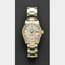 Stainless Steel, 18kt Gold, and Diamond Wristwatch, Rolex