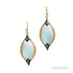 18kt Gold, Quartz, and Diamond Earrings, Lauren Harper