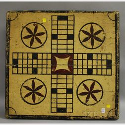 Polychrome Painted Wooden Footed Game Board with Four Short Drawers