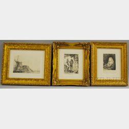 Rembrandt van Rijn (Dutch, 1606-1669)      Three Etchings:   Adam and Eve ,  Le Moulin