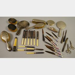 Fifteen Sterling Silver-mounted Dresser Items
