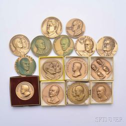 Fifteen Bronze Medals of United States Presidents
