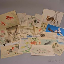Twenty-seven Assorted Kacho-e   Woodblock Prints