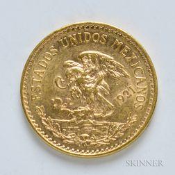 1921 Mexican 20 Pesos Gold Coin