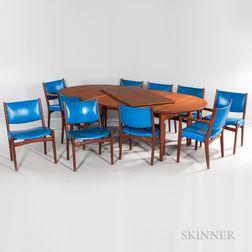 Hans Wegner (1914-2007) for Johannes Hansen Dining Table and Ten Chairs