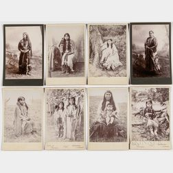 Eight Cabinet Card Photos of Native American Women and Children