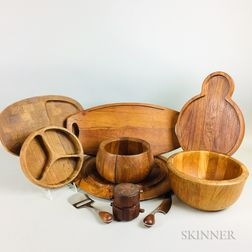 Five Teak Serving Trays, Two Bowls, Two Slicers, and a Jens Quistgaard Pepper Mill