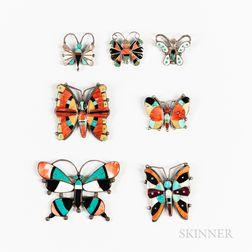 Seven Zuni Inlay Butterfly Pins
