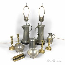 Group of Pewter and Brass Items