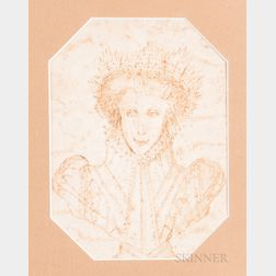 Continental School, 16th Century Style    Drawing of an Unknown Queen, Perhaps Mary Queen of Scots
