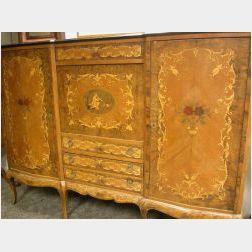 Louis XV/XVI Style Marquetry Inlaid Walnut Serpentine Wardrobe.